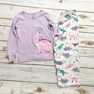 CARTER'S Purple Dinosaur Pajamas Set Pants Top